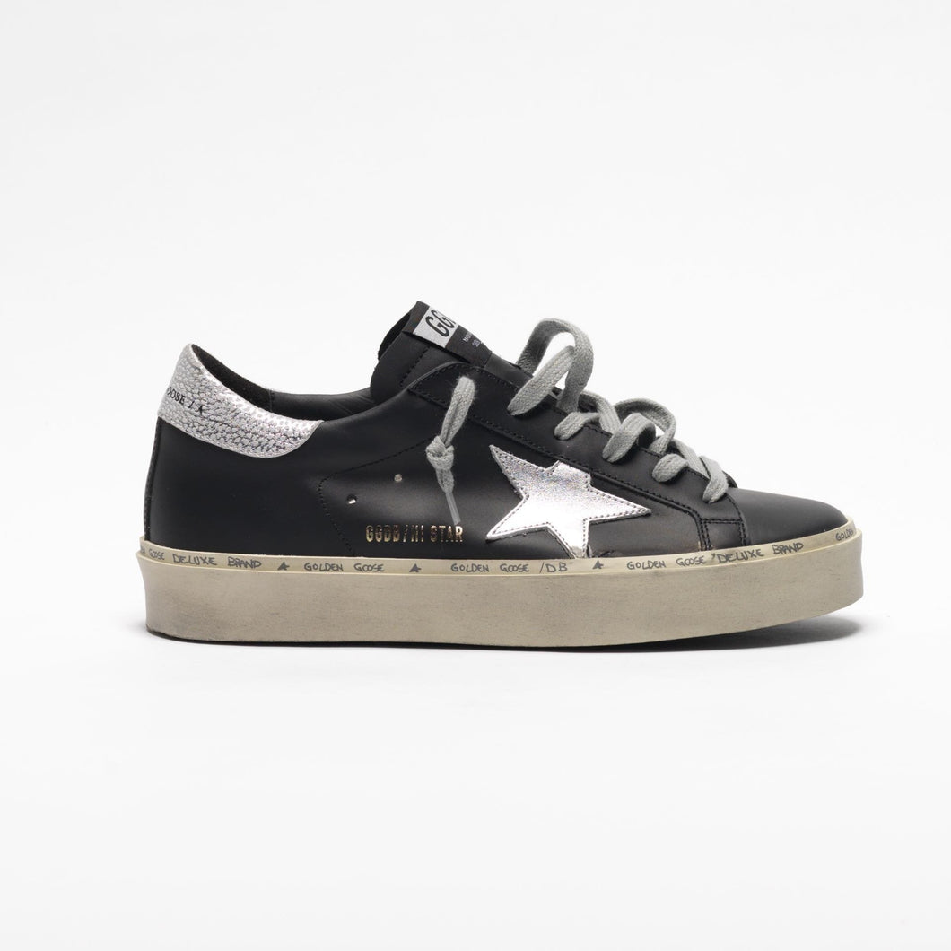 Golden Goose Hi Star Black Silver Star