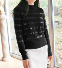 Load image into Gallery viewer, W+W Sequin Stripe Funnel Neck