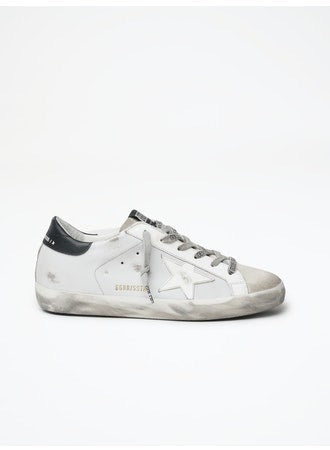 Golden Goose Superstar White Leather Black Heel Logo Laces