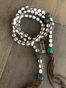 Tess Large Turquoise Pearl Necklace