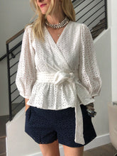 Never a Wallflower Eyelet Wrap Blouse