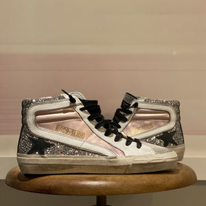 Golden Goose Glitter Slide Black Star & Laces, Pink/Silver