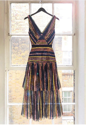 Self Portrait Stripe Sequin Dress