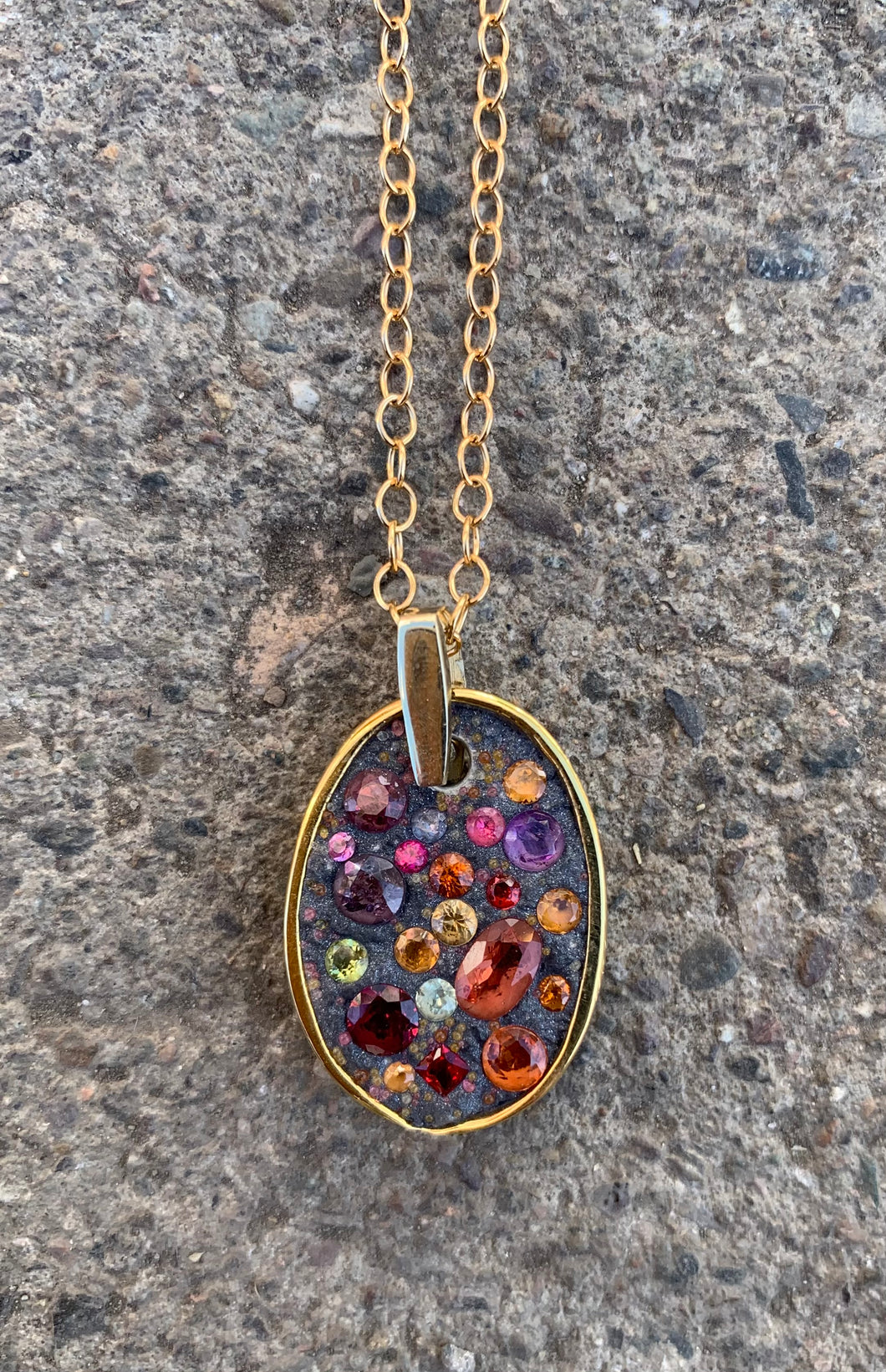 Miles McNeel Large Oval multicolor sapphires ruby and garnets 14k gold