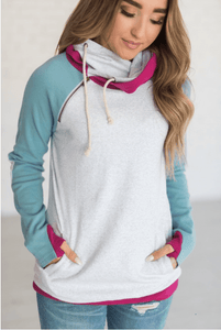 DoubleHood™ Sweatshirt - Ocean Elbow Patch - Sweet Onnie's Boutique