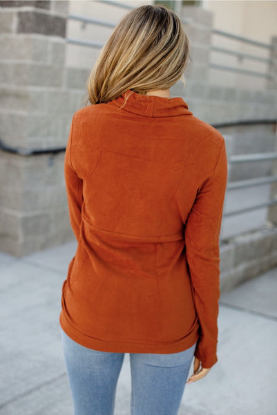 Performance Fleece Cowlneck - Rust - Sweet Onnie's Boutique
