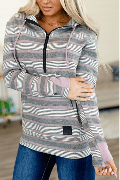 HalfZip Hoodie- Purple/Black Stripes - Sweet Onnie's Boutique