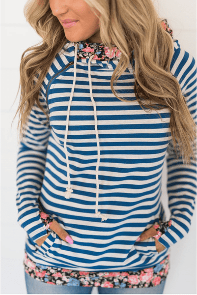 DoubleHood™ Sweatshirt - Blue Striped Floral - Sweet Onnie's Boutique