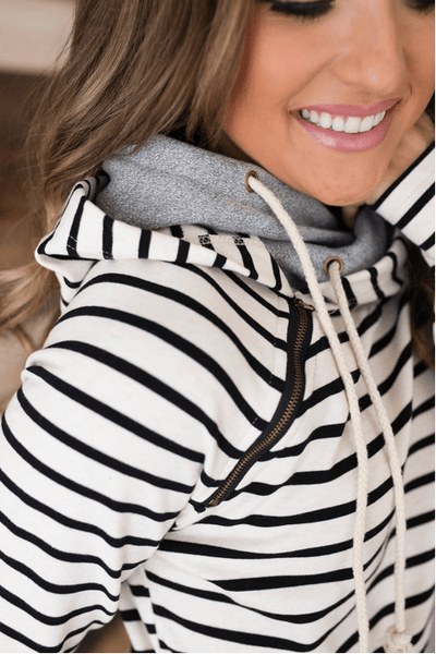 DoubleHood™ Sweatshirt - Tan Stripe - Sweet Onnie's Boutique