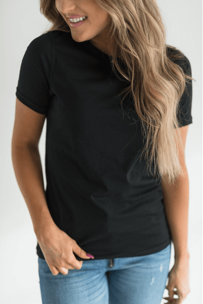 Solid Black Everyday Tee - Sweet Onnie's Boutique