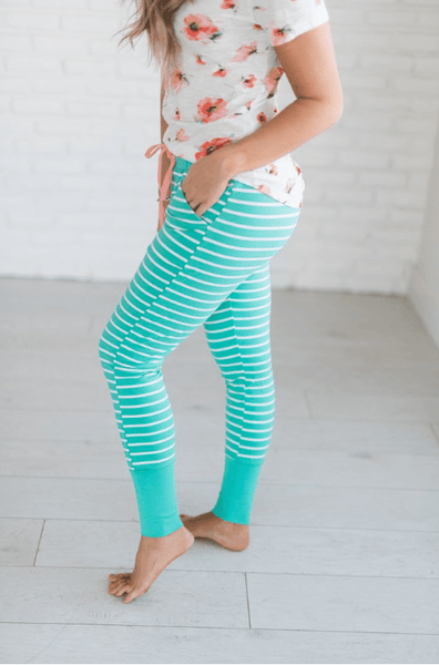 Green Stripe Loungers - Sweet Onnie's Boutique