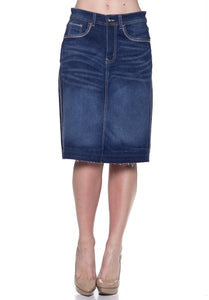 Dark Indigo Stretch Denim Skirt - Sweet Onnie's Boutique