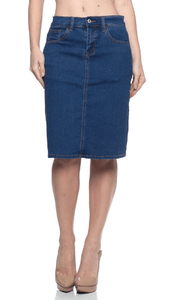 Indigo Stretch Denim Pencil Skirt