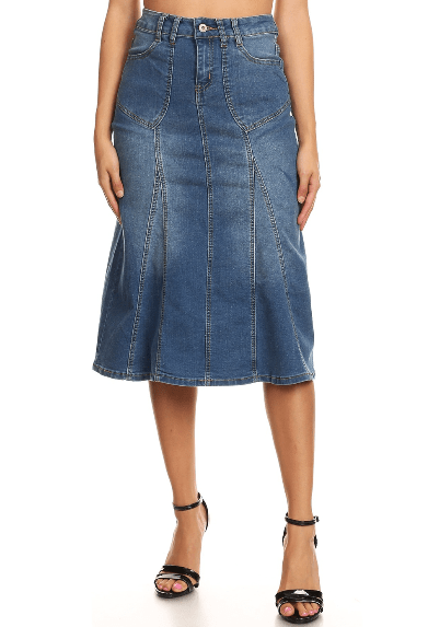 Indigo Wash Stretch Denim Skirt