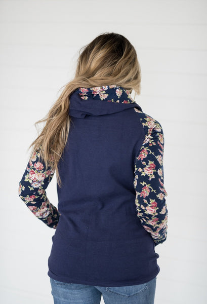 DoubleHood™ Sweatshirt-Navy Floral - Sweet Onnie's Boutique