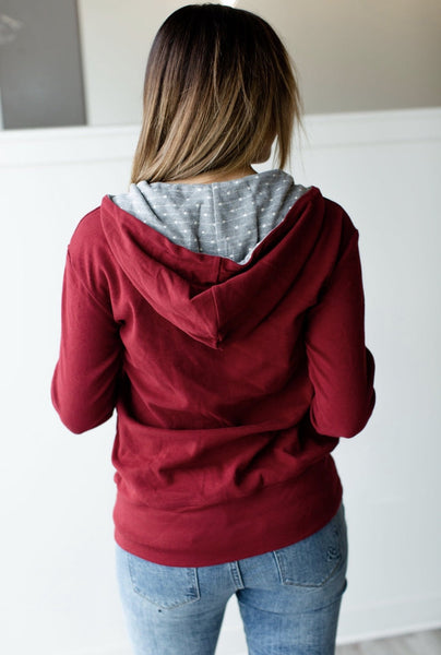 Halfzip Sweatshirt- Cranberry - Sweet Onnie's Boutique