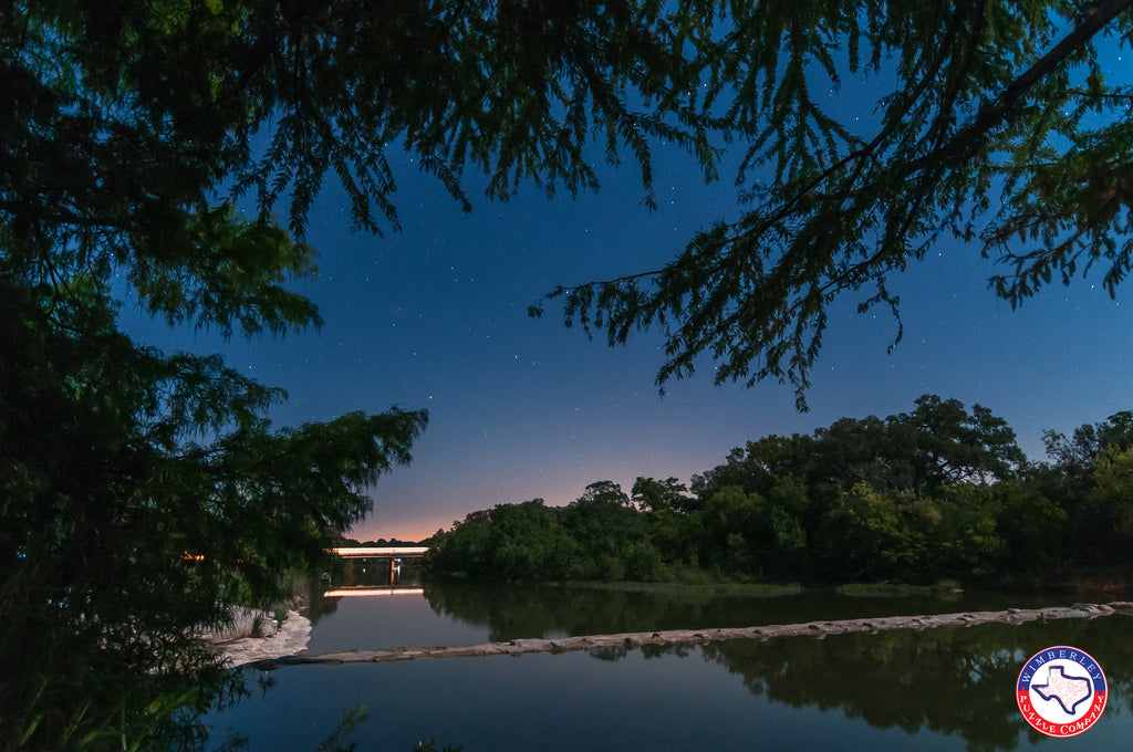 Blanco State Park, nightscape over the Blanco River