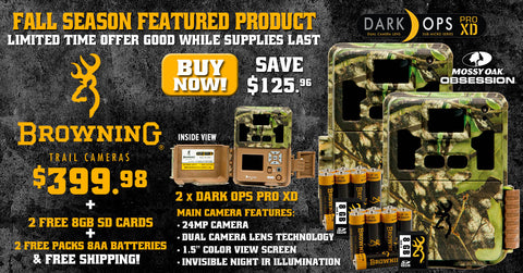 2x Dark Ops Pro XD in Mossy Oak Obsession  includes (2) FREE 8GB SD Cards + (2) FREE Packs of 8 AA batteries & FREE Shipping