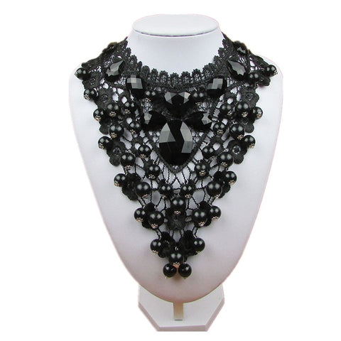 Black Lace Short Choker Necklace & Pendant