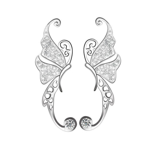 Natural Beautiful Crystal Butterfly Earrings