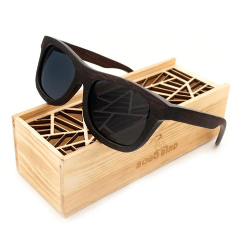 Natural Ebony Wooden Brand Design Square Polarized Sunglasses