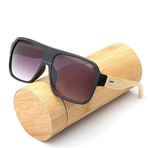 Flat Top Bamboo Retro Designer Sunglasses