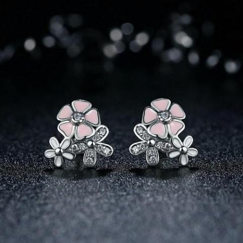 Poetic Cherry Blooms Flowery Sterling Silver Stud Earrings