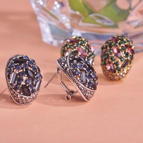 Vintage Rhinestone Colorful Crystal Earrings