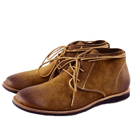 Men Suede Genuine Leather Vintage Ankle Boot Lace up Shoes