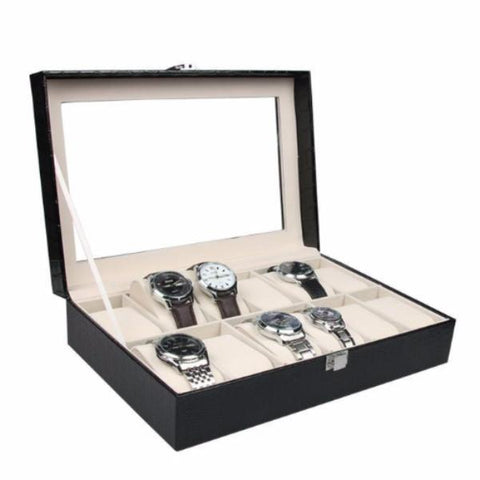 Black Leather Watch Box for 12 with Lock and Mirror