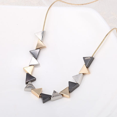 Unique Geometric Triangle Shaped Pendant Necklace