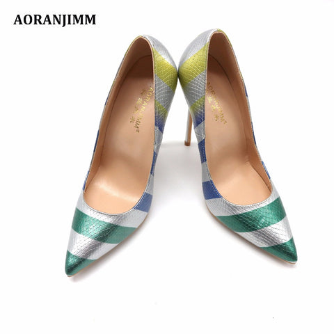Pointed Toe Snake Python Strap High Heel Shoes