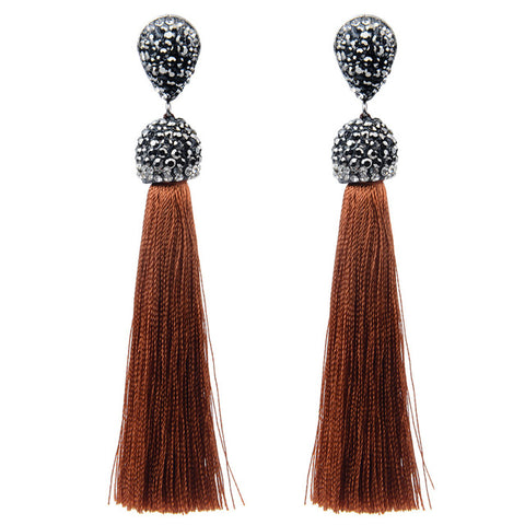 Long Classic Bohemian Tassel Dangle Drop Earrings
