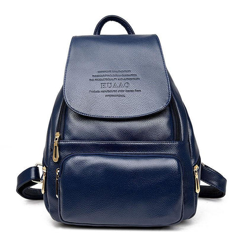 Women Genuine Leather Soft Brand Stylish Backpack