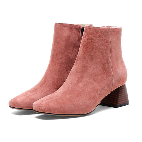Suede Leather Shoes Square Toe Heel Comfortable Ankle Boots