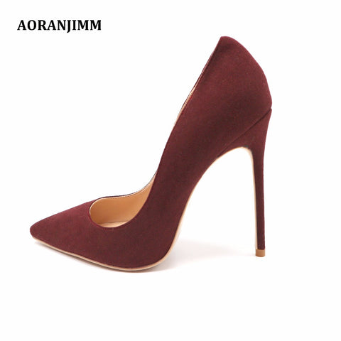 Red Wine Suede Pointed Toe Classy Lady High Heels Shoes