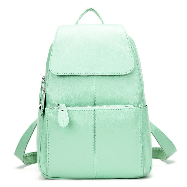 Real Soft Genuine Leather Preppy Style Women Backpack