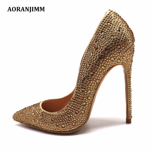 Champagne Stone Gold Crystal Pointed Toe High Heel Party Shoes