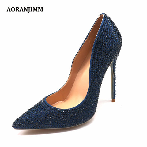 Navy Crystal Rhinestone Pointed Toe High Heels Shoes