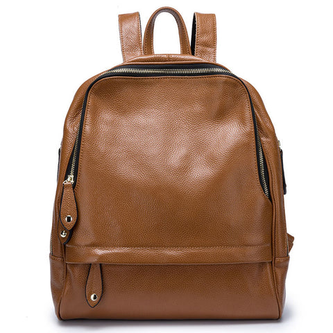 Leather Women's Backpack Simple Design Travel Bag