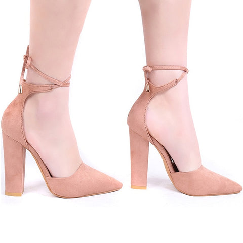 Pointed Strappy Pumps Retro High Thick Heels Shoes