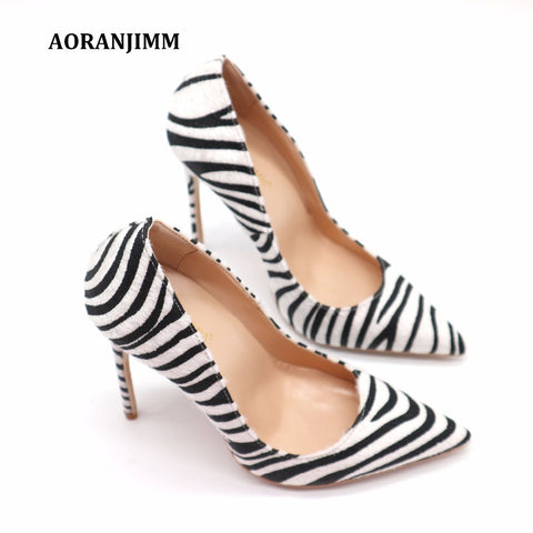 Zebra Women Fashion Pointed Toe High Heel Shoes