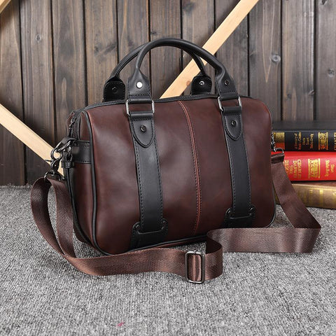 Brand Leather Business Vintage Travel Shoulder Bag