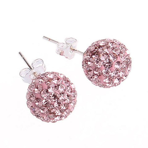 Austrian Crystal Rhinestones Pave Disco Ball Bead Authentic Earrings