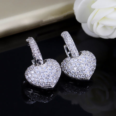 Fashion Heart Shape Clear Cubic Paved Earrings