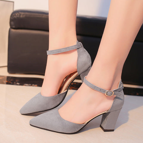 Comfortable Flock Buckle High Heel Shoes
