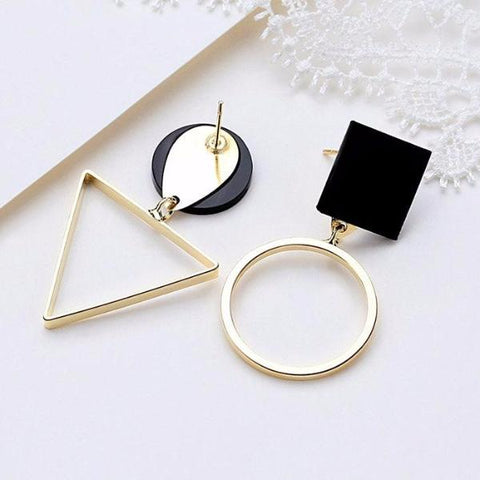 Vintage Personality Asymmetrical Geometric Stud Earrings