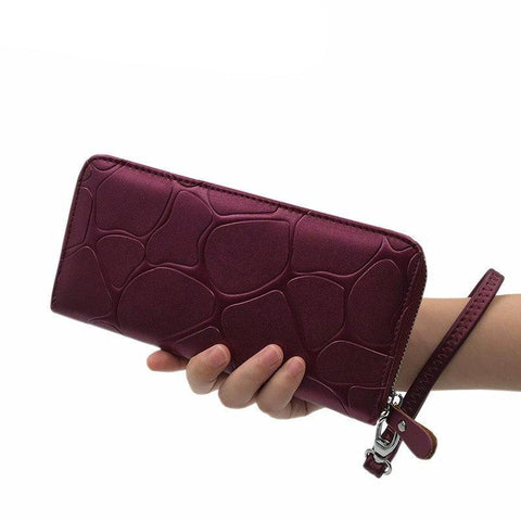 Stone Pattern Zipper Long Leather Women Wallet