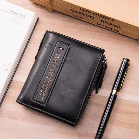 Double Zipper Vintage Retro Men Wallet