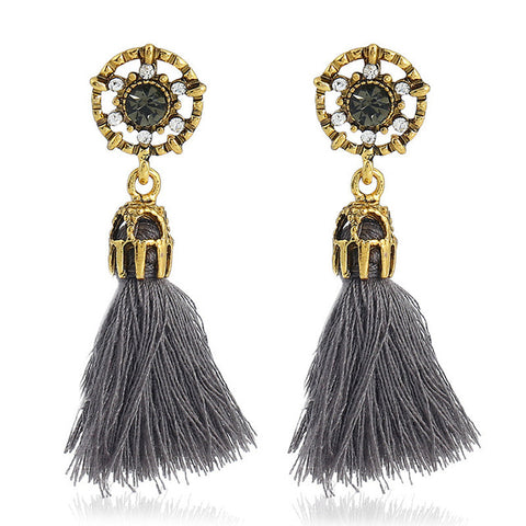 Trendy Tassel Velvet Ball Fringed Drop Earrings
